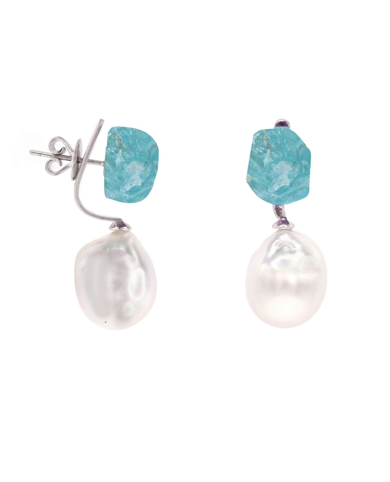 Apatite Rough And Pearl Earrings