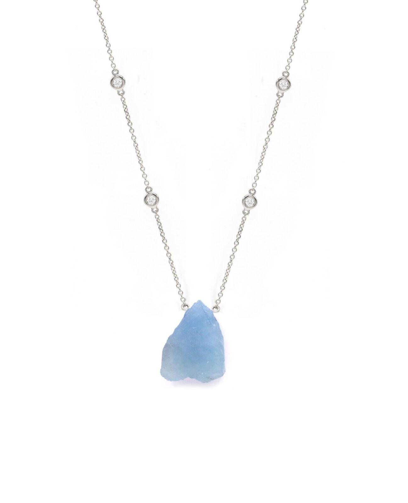 Aquamarine Rough Crystal Necklace